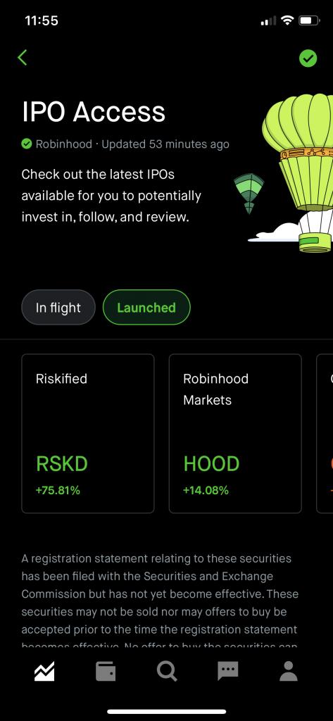 Robinhood IPO Listing price