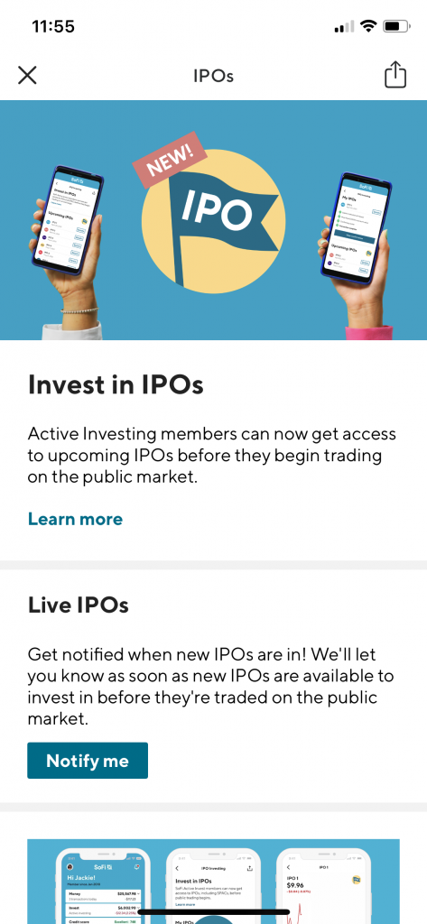 Sofi Investing ipo section